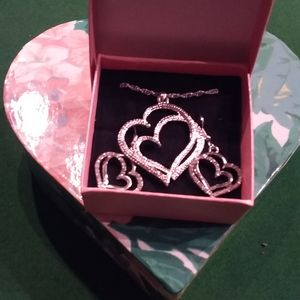 Silver plated/crystals heart necklace & earrings